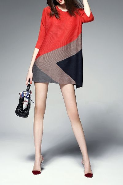 Agd Red Color Block Trapeze Dress | Mini Dresses at DEZZAL