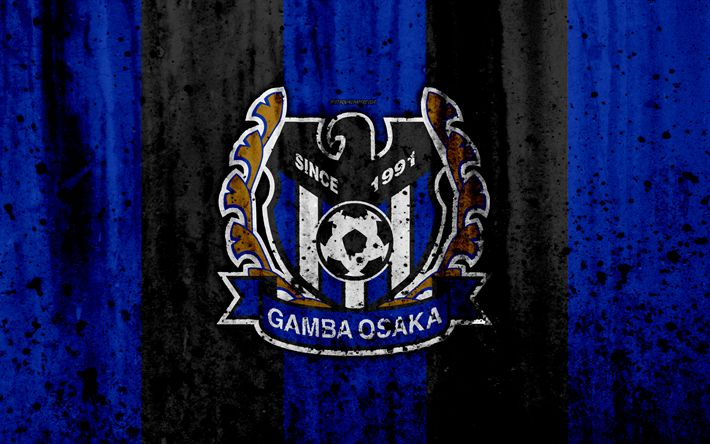 Download wallpapers FC Gamba Osaka, 4k, logo, J-League, stone texture, Japan, Gamba Osaka, soccer, football club, Gamba Osaka FC
