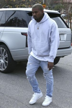 Kanye West wearing Adidas Yeezy Season 4 Calabasas Sneakers