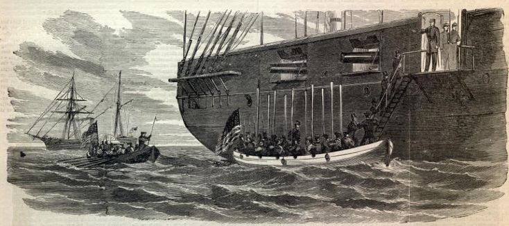 The Trent Affair - James Mason and John Slidell are brought to the U.S. sloop of war San Jacinto as prisoners.