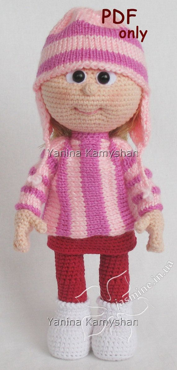 Doll in sweater and hat, crocheted amigurumi, PDF pattern