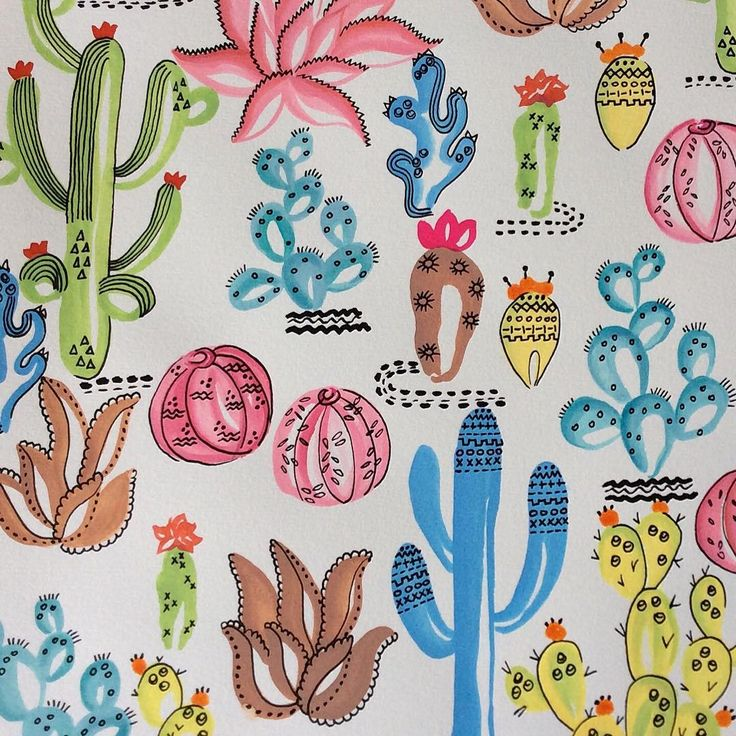 A close up of my tribal cactus art print, handpainted originally using water colour inks now available as a print online at Shakiraaz & also on my etsy store https://www.etsy.com/au/listing/270053388/tribal-cactus-succulent-print?ref=shop_home_active_3…