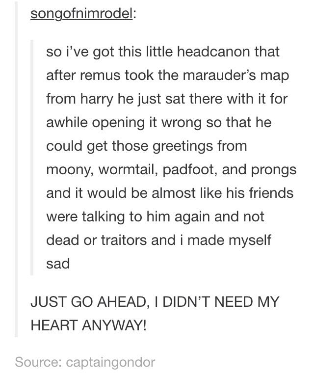 PLEASE TAKE A FEW MOMENTS OF YOUR TIME TO IMAGINE TEDDY LUPIN SNEAKING THE MARAUDERS MAP FROM HARRY'S DESK AND USING IT TO SEE ALL THE FUNNY THINGS HIS DAD WROTE AND TALKING TO HIM OH LOOK I'M SAD NOW TOO