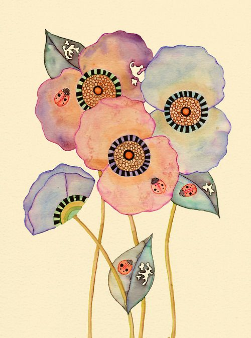 Ladybird Poppies by Colleen Parker