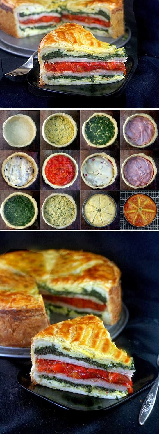 Tourte Milanese - A Meal En Croute ~ Puff pastry filled with layers of deliciousness. Very simple to make!