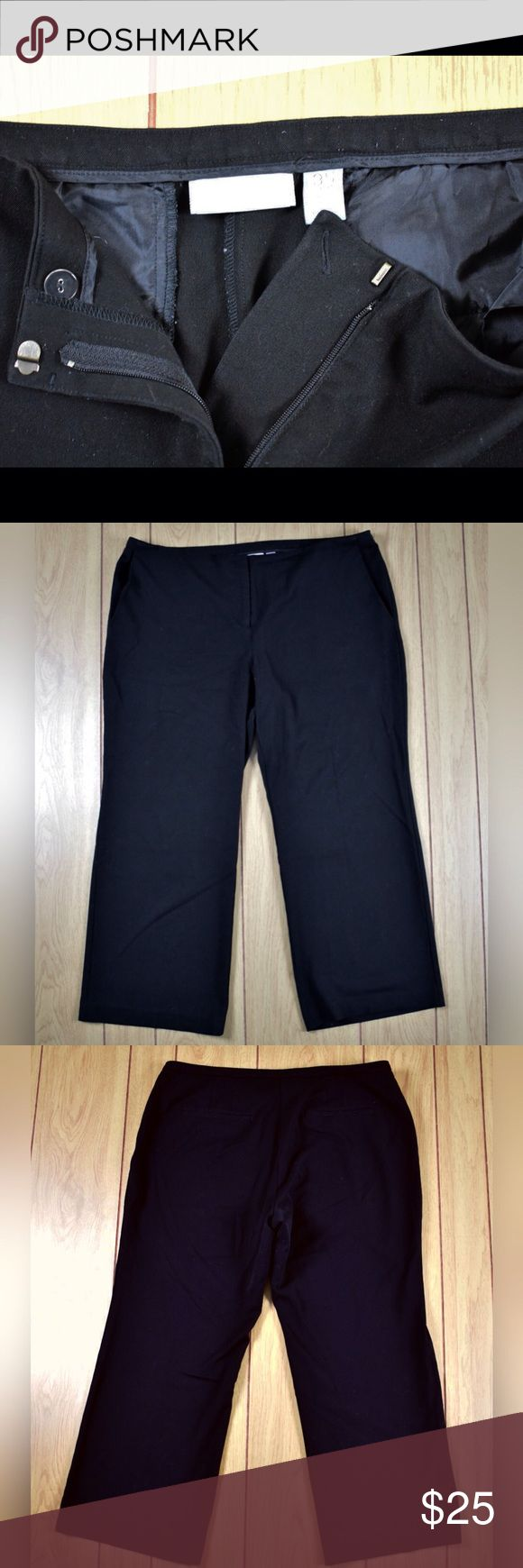 CHICO'S Plus Size 3.5 short Black Dress pants Chico's ladies plus size 3.5 Short black dress pants 70% polyester 27% rayon 3% spandex  Measurement (approximate- flat garment) waist 40 inseam 29 rise front 11.5 back 14 leg opening 11 ___ Chico's Pants Trousers