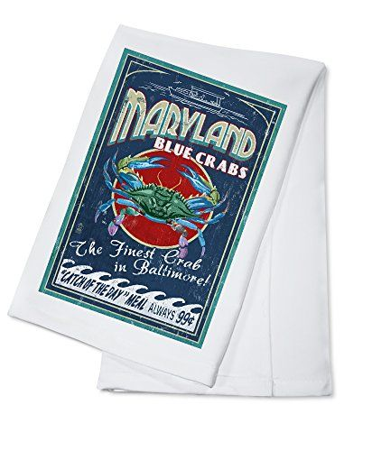 Baltimore Maryland  Blue Crabs Vintage Sign 100 Cotton Kitchen Towel -- Details can be found by clicking on the image. Note:It is Affiliate Link to Amazon.