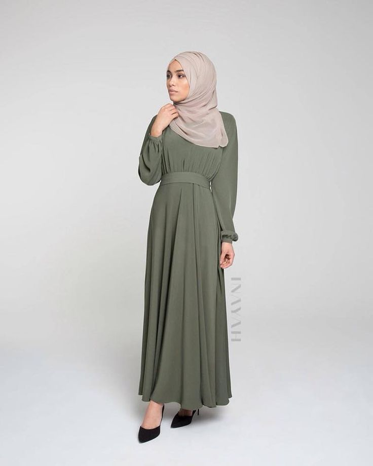 INAYAH | Olive Ruched #Abaya (also available in Black and Mocha)  + Light Mink Maxi Georgette #Hijab - www.inayah.co