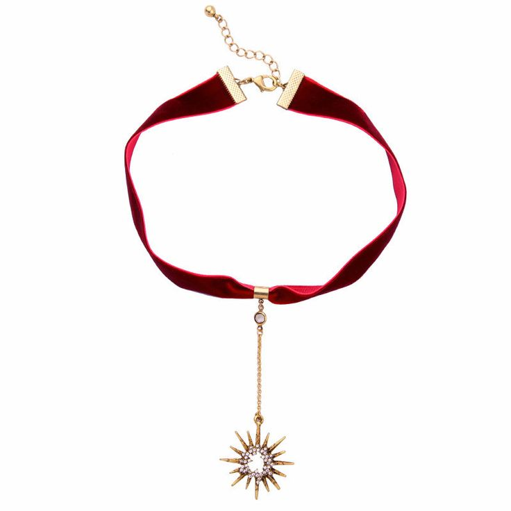 Crystal Star Pendant Red Velvet Ribbon Choker Necklace