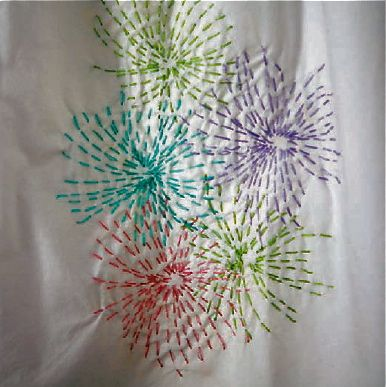 Sashiko Fireworks — Free Hand Embroidery Design. This would be very effective on a dark background and would hide stains well.