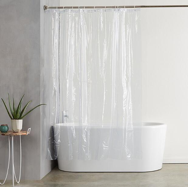 Sdarisb Plastic Peva 3d Waterproof Shower Curtain Transparent