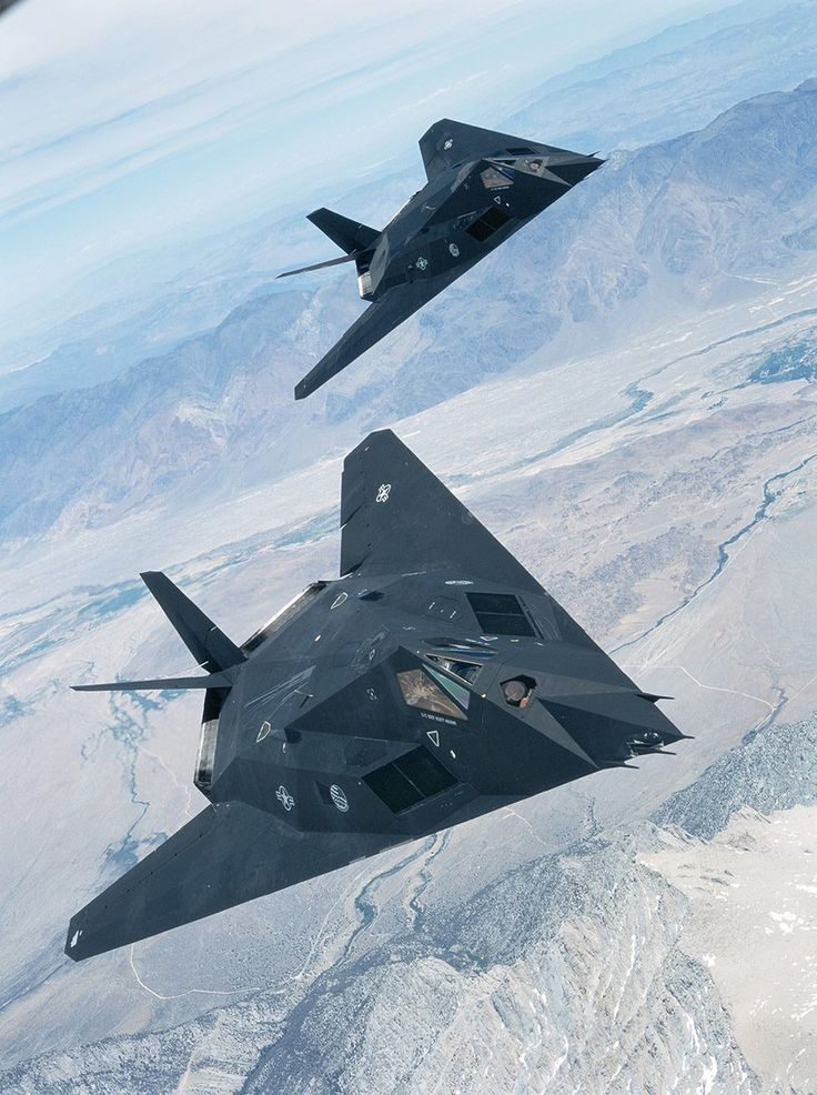F-117 Nighthawk.  I'd hate to be on the other side of these two beasts.