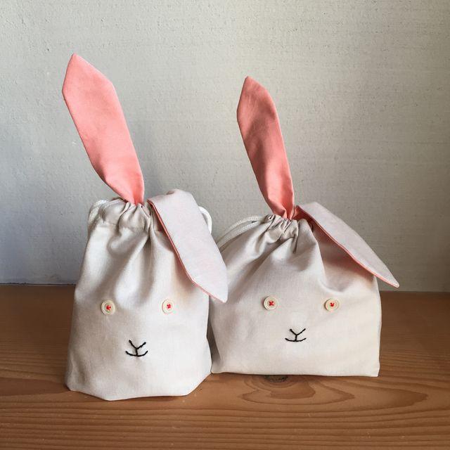 うさぎ巾着 お弁当袋&コップ袋SET * 生成り