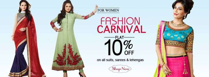 Now offering FLAT 10% OFF on suits, sarees and lehengas. Checkout now @ http://www.royallifestyle.in/