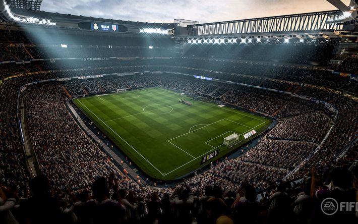 Descargar fondos de pantalla 4k, la FIFA 18, estadio de 2017, juegos, simulador de fútbol