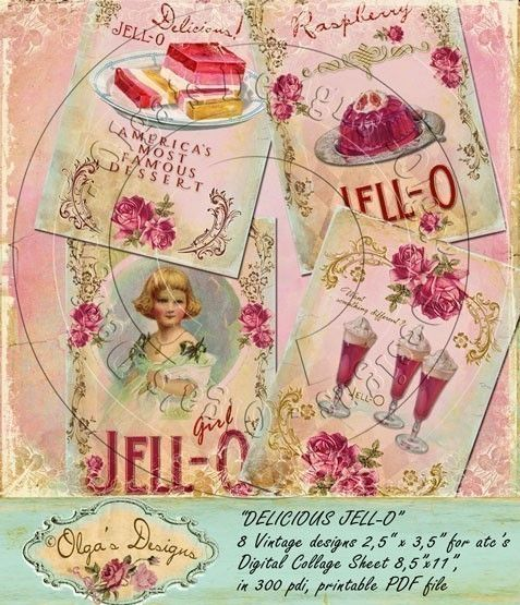 Delicious Jell-O, 8 Designs for ATC's, Digital Collage Sheet, in 300 pdi, printable PDF file