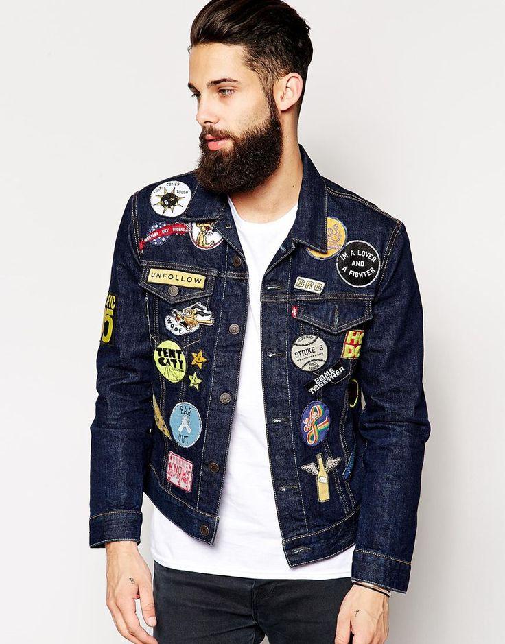 Levis denim jacket slim fit trucker black multi patch for Chaquetas guapas