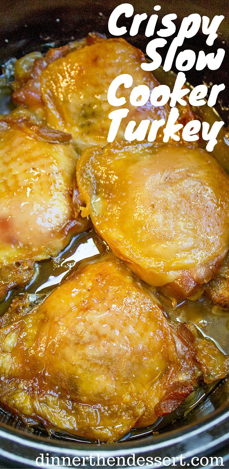 Crispy Slow Cooker Turkey Thighs are juicy, crispy, tender and a total breeze to make on a weeknight! Also includes 10 different ways to add different flavors with almost no effort! /eatturkey/ #ad