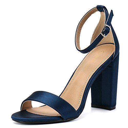 078b99336e4 Moda Chics Women s High Chunky Block Heel Pump Dress Sandals Navy Satin 7.5  D(M