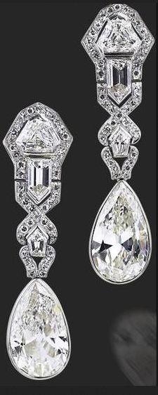 Art Deco diamond earrings, circa 1920....