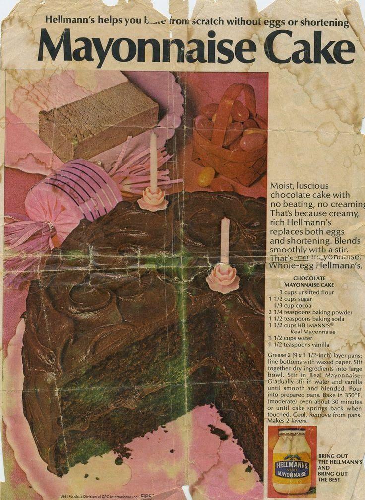 BelleWest.com~ Original Chocolate Mayonnaise Cake recipe from a 1950s Magazine ad