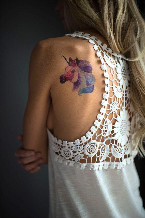 Tatuaggio temporaneo unicorno di Sasha Unisex di MadeByTattooYou