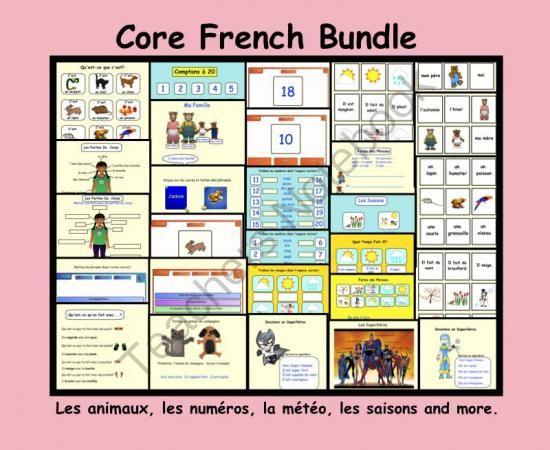 Core French Bundle: Les animaux, les numéros, la météo, les saisons and more. from Teaching The Smart Way on TeachersNotebook.com -  (29 pages)