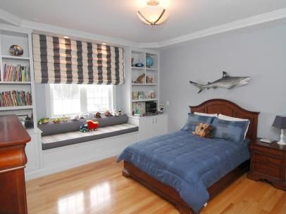 Transitional Boy's Bedroom With Shark Decor