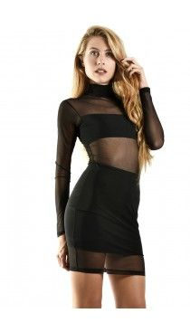 Sandy μαύρο φόρεμα με διαφάνεια