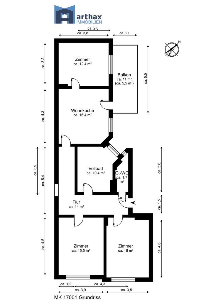 Grundriss Mit Maßketten Und Raumbezeichnungen