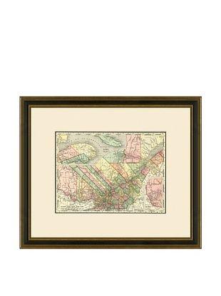 50% OFF Antique Lithographic Map of Quebec, 1886-1899
