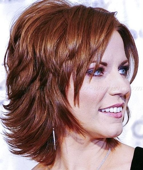 medium hairstyles over 50 - shoulder length layered haircut