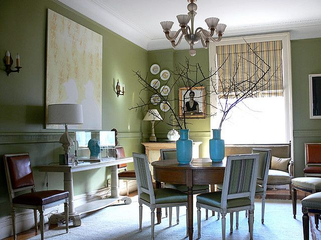 'Curlish Green' by Farrow & Ball: Dining room by Shelia Bridges by xJavierx, via Flickr