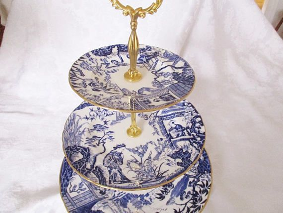 3 tier Royal Crown Derby Mikado english tea stand fine bone