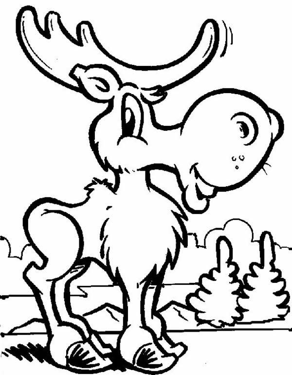 Moose Funny Moose Coloring Page