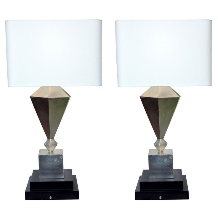 Pair Of Art Deco Silver Leaf Lamps On Pedestal