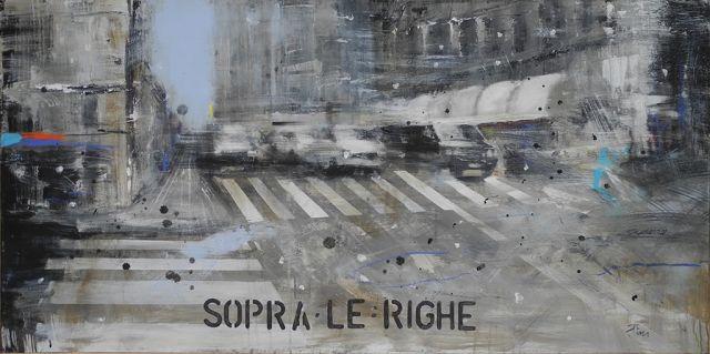 Sopra le righe - Olio su tela - cm.60x120 - dipinto con città, scorcio di città, veduta metropolitana