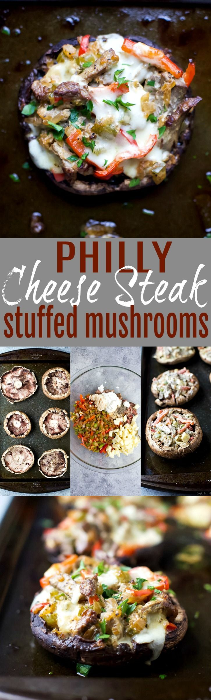 Easy Low Carb Philly Cheese Steak Stuffed Mushrooms filled with tender steak, sautéed vegetables and gooey cheese. These Stuffed Mushrooms are done in 30 minutes and loaded with flavor!