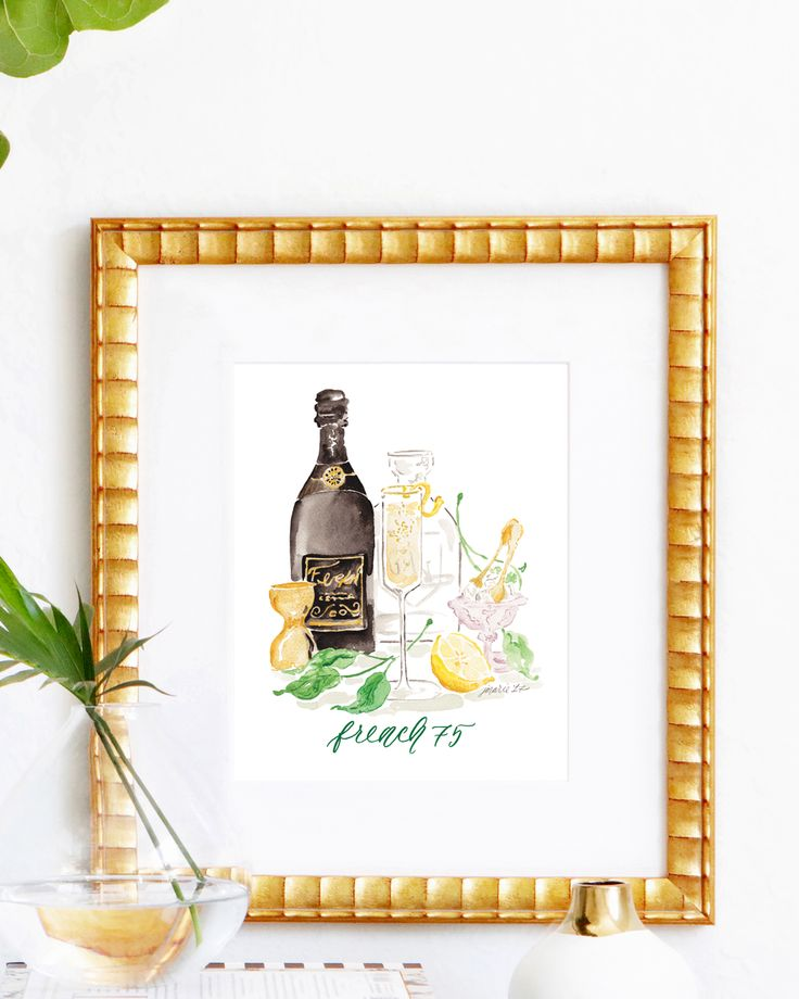 French 75 Watercolor Cocktail Art Print — Simply Jessica Marie