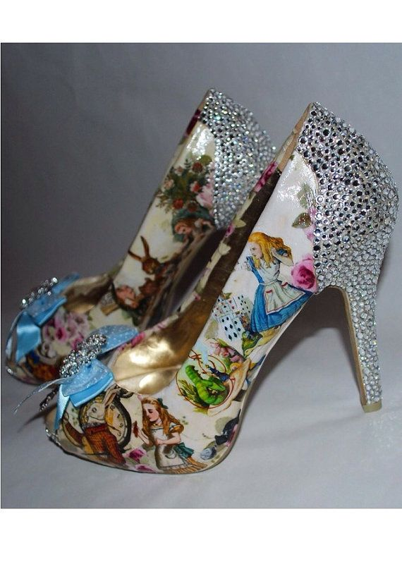 Beautiful Customised Alice in Wonderland Heels    All the favourite Alice characters and scenes, the Mad Hatters Tea Party, Cheshire Cat,