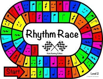MUSIC CENTERS: RHYTHM RACE NOTE NAMING EDITION LEVEL 2 - RHYTHM GAME - TeachersPayTeachers.com