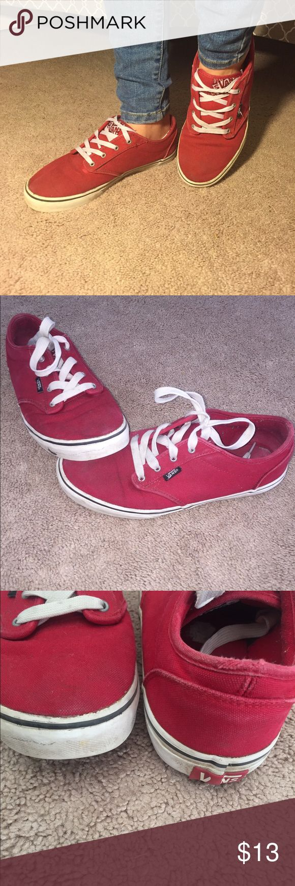 Red vans authentic skater shoe Well loved shoe. Used and has been worn. There's marks on front, laces are faded. Vans Shoes Sneakers