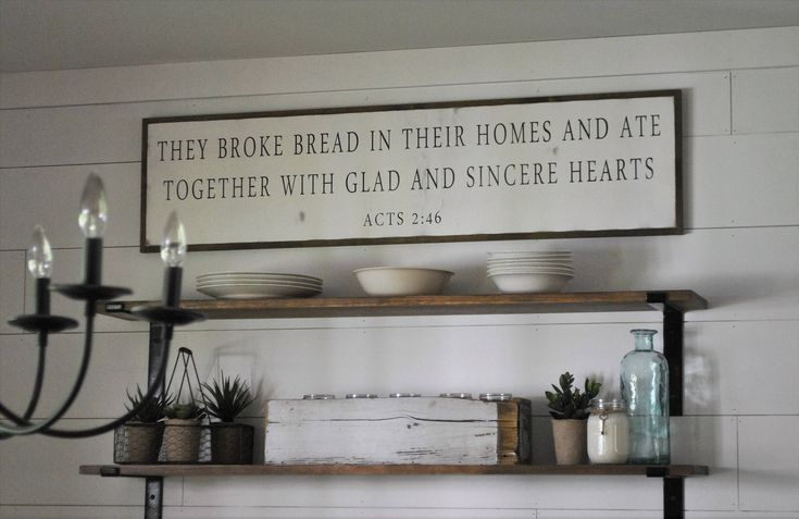 THEY BROKE BREAD in their homes and ate together {1'X4'} framed sign | distressed shabby chic wooden sign | painted wall art | Acts 2:46 by ThePeddlersShed on Etsy