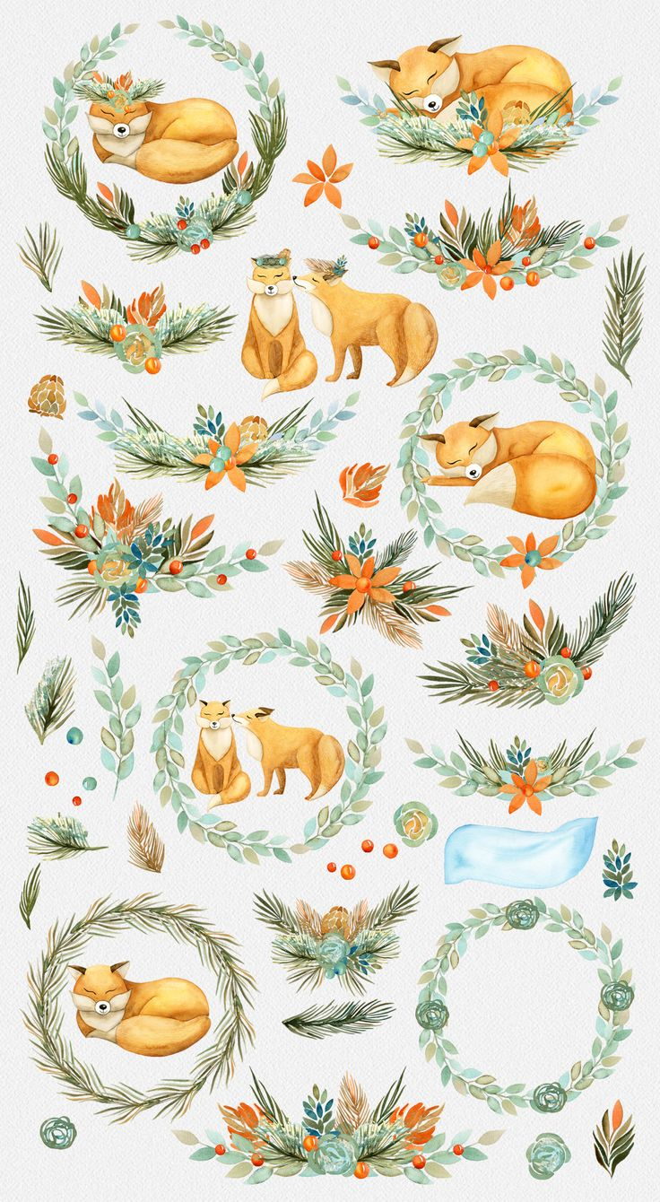 Package includes:46 PNGfoxes, fox sleeping, cuddling fox, flowers, needles, twigs, branch in the snow, branches and wreaths of flowers, wreaths from pine needles,3 PNGtransparent seamless patterns of foxes, of twigs and plants.
