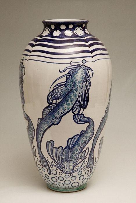 >Galileo Chini (1873-1956), Glazed Decorated Ceramic Vase.
