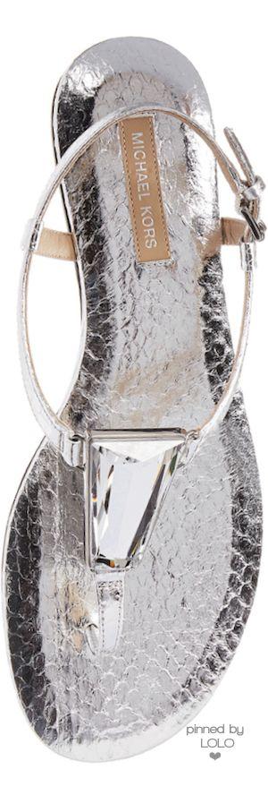 #Michael Kors Hanne Metallic Snakeskin Sandal Silver