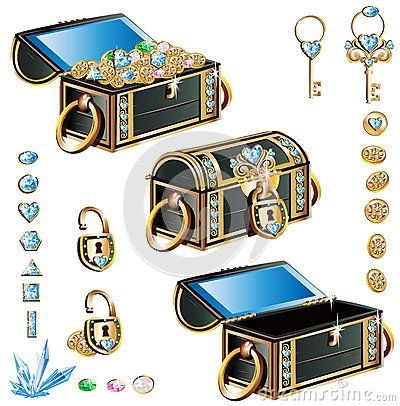 Treasure chest with blue decoration set