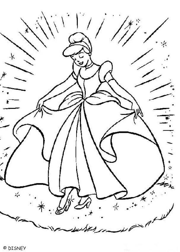 How Elegant And Beautiful Cinderella Looked At The Ball Coloring Pages Can Be Decorated Online With Interactive Machine Or