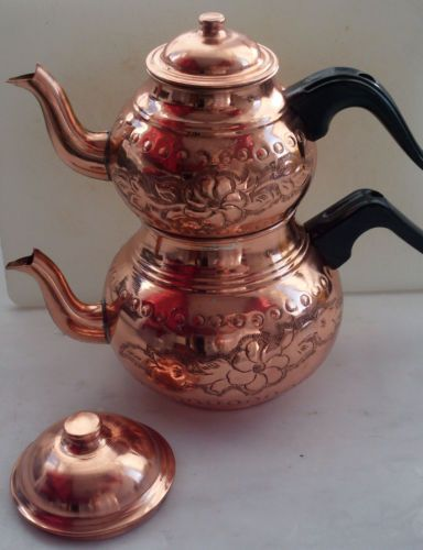 Traditional Turkish Handmade TEAPOT,Copper,Double Kettle,Caydanlik,Hammered