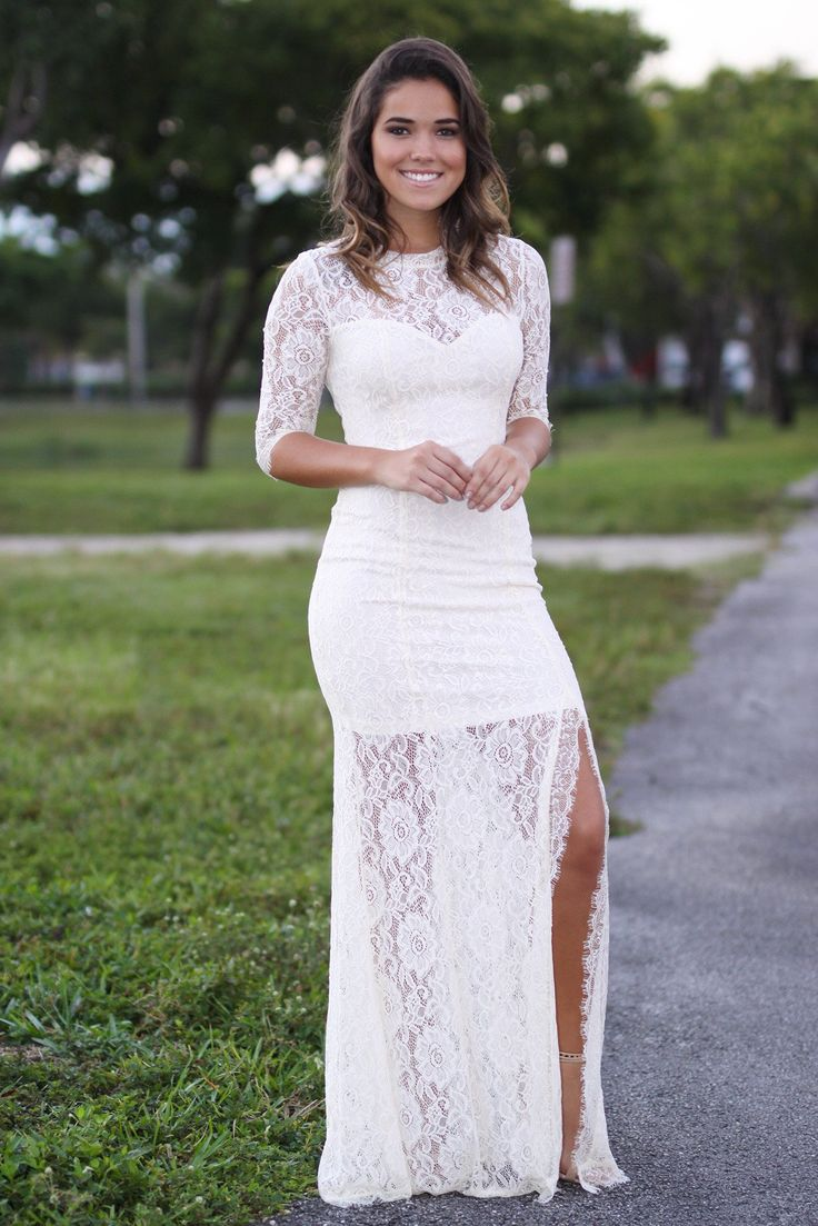 beige lace maxi dress with 3/4 sleeves